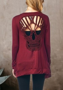 Burgundy Cut Out Backless Skull Long Sleeve Fashion Coat