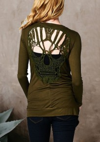 Army Green Cut Out Backless Skull Long Sleeve Fashion Coat