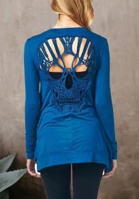 Blau Rückenfrei Schädel Langarm Mode Coat