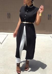 Black Single Breasted Slit Turndown Collar Office Worker Sleeveless Formal Casual Blouse