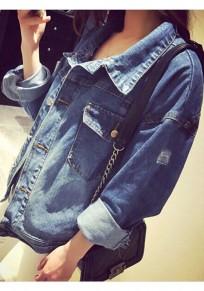 Blaue Taschen Einreihig Boyfriend Oversize Löchern Jeansjacken Mode Damen Mantel Günstig