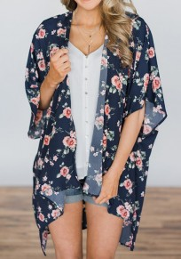 Navy Blue Floral Print Irregular Fashion Cardigan Coat