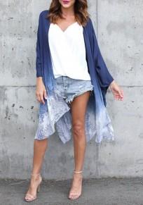 Blue Floral Irregular Side Slit Omombre Flowy Kimono Cover Up Cardigan Coat