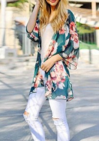 Green Floral Print Cardigan Bohemia Beach Cover Up Chiffon Kimono