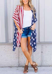 Red American Flag Pattern Irregular Independence Day Casual Cardigan Coat