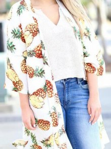 White Pineapple Print Slit Beachwear Casual Kimono Cover Up Cardigan Coat