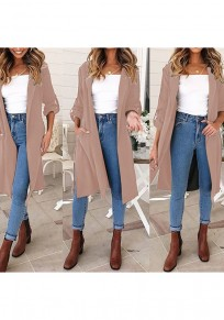 Khaki Slit Side Pockets Buttons Turndown Collar Coat