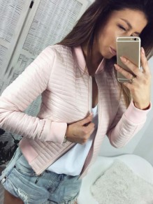 Pink Zipper Long Sleeve Fashion Going out Cardigan Coat