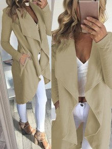 Beige High-Low Pockets Turndown Collar Long Sleeve Coat