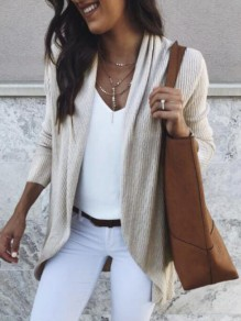 Beige Irregular Cowl Neck Long Sleeve Knit Oversized Casual Coat