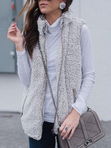 Grey Zipper Fuzzy Pockets Sleeveless Casual Vest Coat