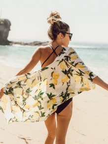 White Lemon Print Elbow Sleeve Bohemian Beach Cardigan Coat