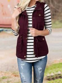 Burgundy Drawstring Pockets Buttons Turndown Collar Casual Waistcoat Cardigan Vest Coat