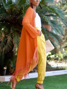 Orange Tassel Cardigan Cloak Long Sleeve Trendy Casual Going out Outerwear