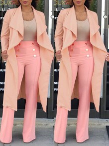 Pink Draped Cardigan Turndown Collar Long Sleeve Casual Outerwear
