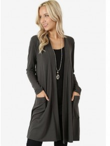 Grey Pockets Long Sleeve Casual Outerwear