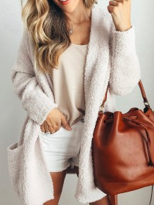 White Pockets No Buttons Fur Lamb Wool Collarless Long Sleeve Casual Coat