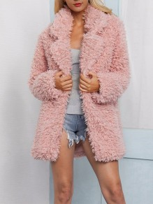 Pink Faux Wool Turndown Collar Thin Fashion Outerwear