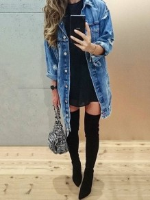 Blue Cut Out Pockets Single Breasted Ripped Fashion Boyfriend Loose Long Jacket Denim Coat