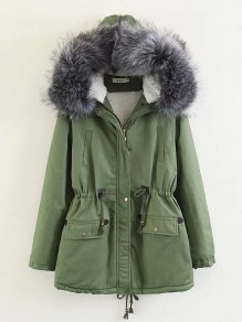 Army Green Drawstring Pockets Zipper Fur Hooded Going out Winter Outerwear