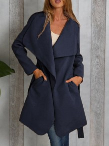 Blue Plain Pockets Belt Turndown Collar Going out Casual Coat