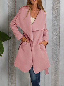 Pink Plain Pockets Belt Turndown Collar Going out Casual Coat