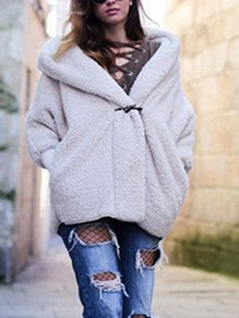 White Faux Wool Buttons Hooded Long Sleeve Casual Coat