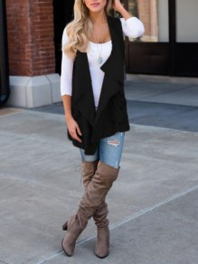 Black Pockets Irregular Draped Collar Casual Vest Coat