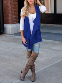 Royal Blue Pockets Irregular Draped Collar Casual Vest Coat