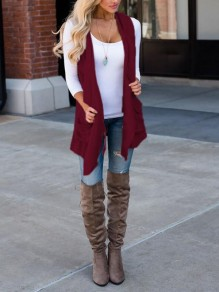 Burgundy Pockets Irregular Draped Waterfall Collar Casual Vest Cardigan Coat