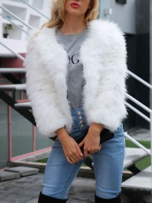 White Faux Fur Long Sleeve Thin Fashion Outerwear