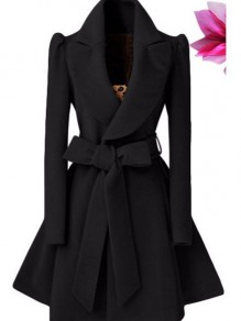 Black Bow Belt Ruffle Plunging Neckline Long Sleeve Elegant A-line Woolen Coat