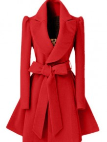 Red Bow Belt Ruffle Plunging Neckline Long Sleeve Elegant Coat