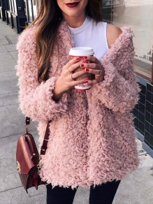 Pink Fur V-neck Long Sleeve Casual Coat
