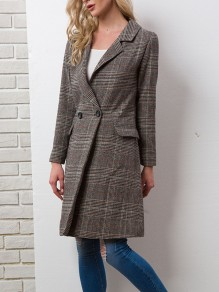 Brown Plaid Buttons Pockets Fitted Turndown Collar Casual Elegant Check Print Woolen Coat