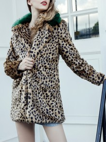 Brown Leopard Pockets Faux Fur Turndown Collar Fashion Outerwear