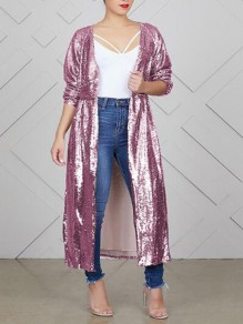 Pink Sequin Draped Sparkly High Waisted Long Sleeve Glitter Casual Coat