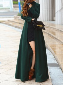 Dark Green Zipper Draped Round Neck Long Sleeve Elegant Coat