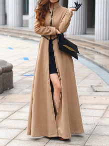 Khaki Zipper Turndown Collar Fashion Woolen Coat