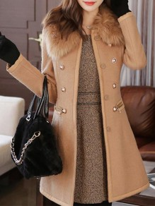 Camel Studded Buttons Fur Pockets Round Neck Long Sleeve Elegant Coat
