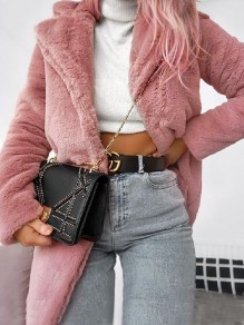 Pink Pockets Faux Fur Turndown Collar Long Sleeve Coat