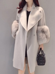 Light Grey Pockets Fur Buttons Turndown Collar Long Sleeve Elegant Coat