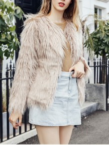 Apricot Faux Fur Collarless Fashion Outerwear