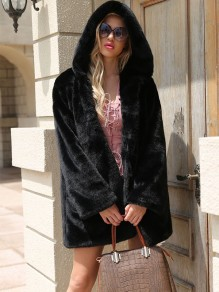 Black Pockets Faux Fur Hooded Winter Warm Oversize Coat Fashion Outerwear