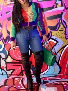 Green Rainbow Striped Zipper Cut Out Fishnet High Waisted Novelty Fashion Streetwear Outerwear