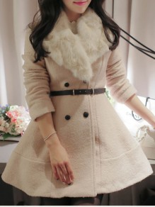 Apricot Belt Pockets Buttons Fur Collar Sweet Outerwear