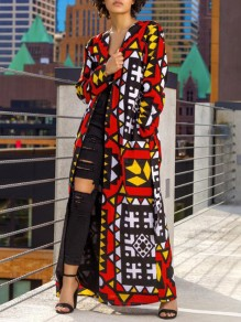 Red Geometric Sashes Pockets Long Sleeve Hippie African Casual Trench Coat