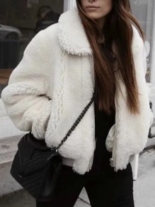 White Faux Fur Pockets Zipper Long Sleeve Fashion Jacket Coat
