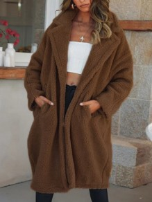 Brown Pockets Turndown Collar Long Sleeve Teddy Coat