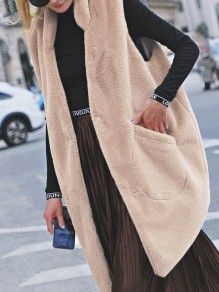 Apricot Pockets Fur Turndown Collar Sleeveless Casual Coat